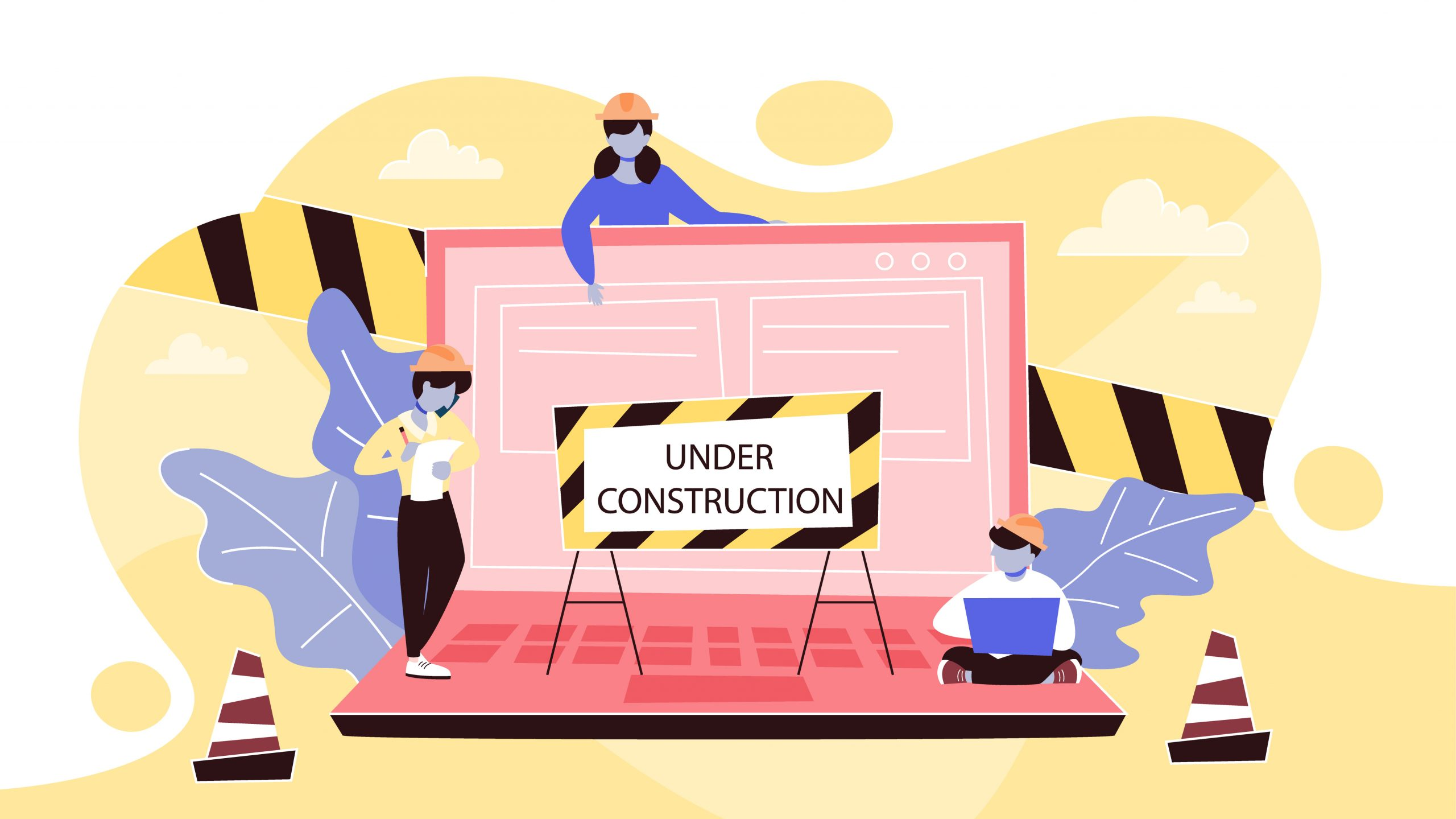 Website under construction page. Work in progress. Small people repare home page in the internet. Vector illustration in cartoon style