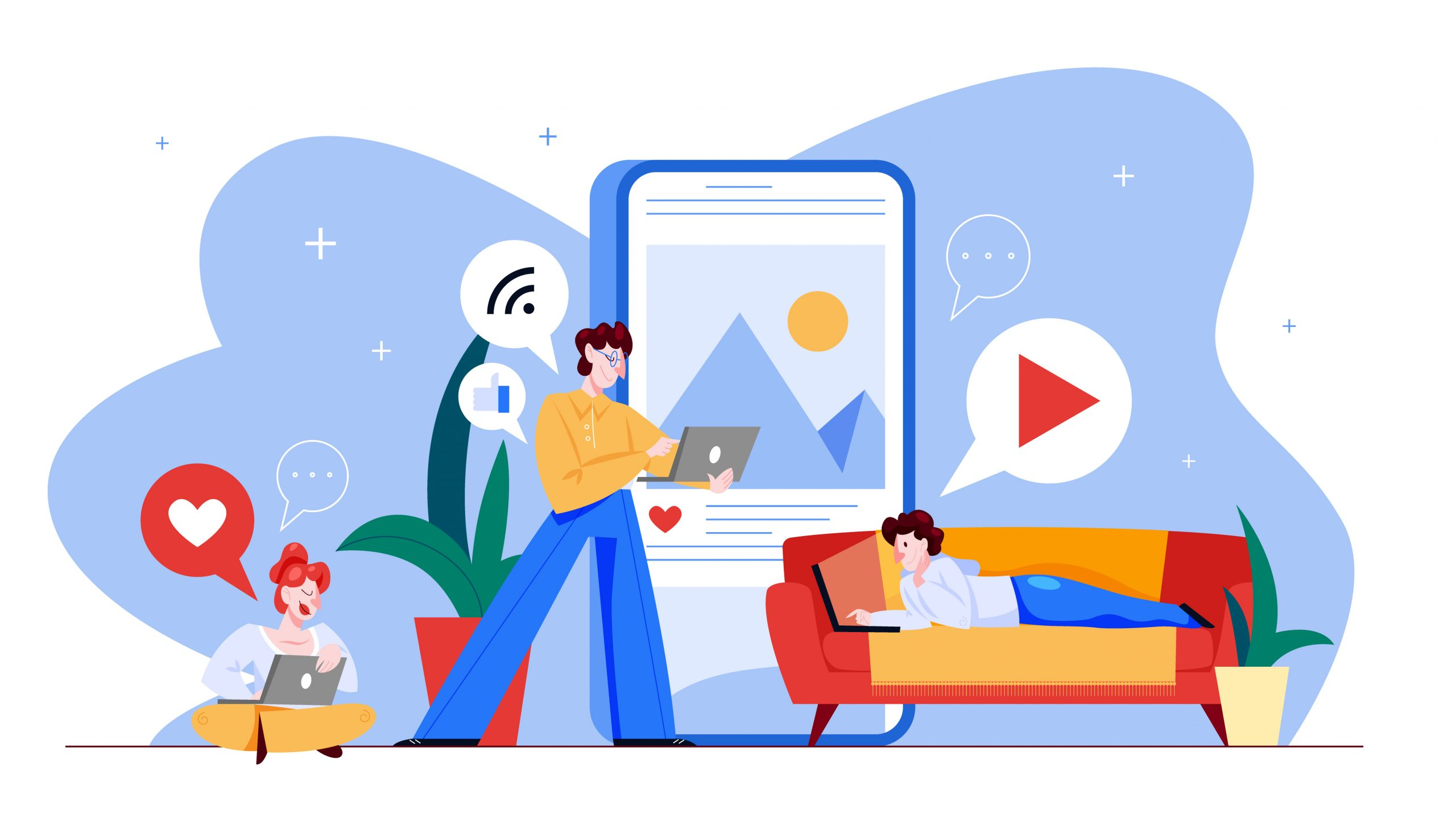 Social media concept. Global communication, sharing content and getting feedback. Using networks for business promotion. Marketing strategy. Vector illustration in cartoon style